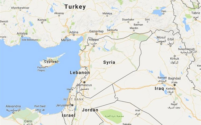 A map showing Israel and Syria. Google Maps.