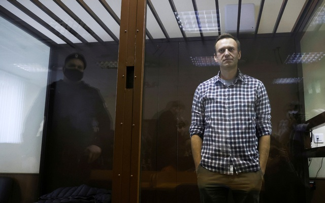 Russian opposition leader Alexei Navalny attends a hearing to consider an appeal against an earlier court decision to change his suspended sentence to a real prison term, in Moscow, Russia February 20, 2021. REUTERS