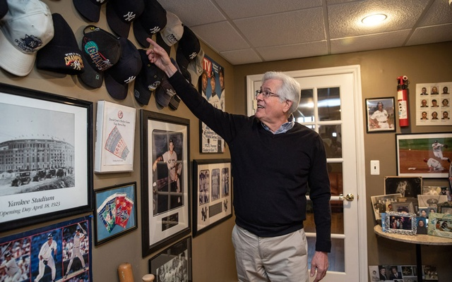 Michael Gross at his home in Mahwah, NJ, on April 7, 2021. Gross, a lifelong Yankees fan, was unnerved when he forgot the name of one of the team's former managers — Casey Stengel — and was determined to keep it in his memory. The New York Times
