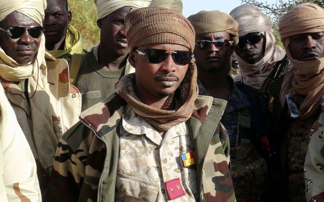 The son of Chad's late president Idriss Deby, Mahamat Idriss Deby Itno (also known as Mahamat Kaka) and Chadian army officers gather in the northeastern town of Kidal, Mali, February 7, 2013. REUTERS