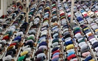 Muslim worshippers take part in Jum'ah prayers at Baitul Mukarram National Mosque in Dhaka on Friday, Apr 23, 2021 amid a lockdown over the coronavirus outbreak. Photo: Mahmud Zaman Ovi