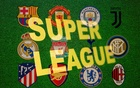 Super League words are seen in front of twelve of Europe's top football clubs logos in this illustration taken April 19, 2021. Reuters