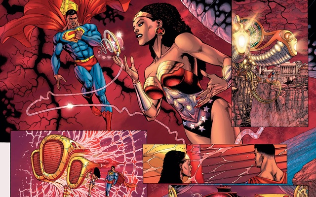A photo provided by DC Comics shows a comic book panel featuring Calvin Ellis, who on an alternate version of Earth is both Superman and president of the US, and Nubia as Wonder Woman. The New York Times