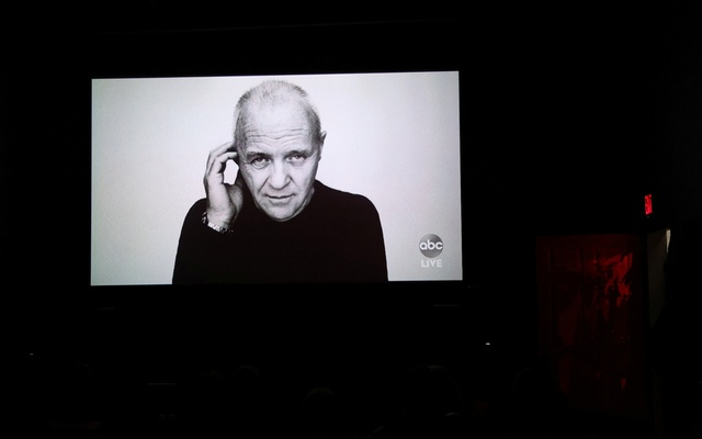 A picture of Anthony Hopkins, who won Best Actor but did not attend the Academy Awards in person, is shown during an Oscars watch party at the Stuart & Cinema Cafe, in Brooklyn, New York, US, April 25, 2021. REUTERS