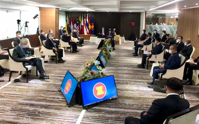 General view of the ASEAN leaders' meeting at the Association of Southeast Asian Nations (ASEAN) secretariat building in Jakarta, Indonesia, April 24, 2021. Courtesy of Agus Suparto/Indonesian Presidential Palace/Handout via REUTERS