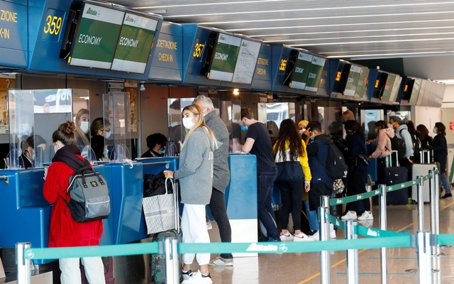 A view of the Alitalia check-in counter at Fiumicino International Airport as talks between Italy and the European Commission over the revamp of Alitalia are due to enter a key phase, in Rome, Italy, April 15, 2021. Reuters