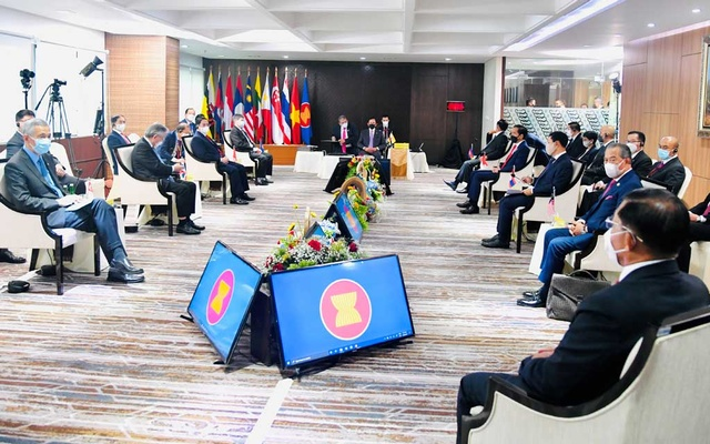 General view of the ASEAN leaders' meeting at the the Association of Southeast Asian Nations (ASEAN) secretariat building in Jakarta, Indonesia, April 24, 2021. Indonesian Presidential Palace via REUTERS