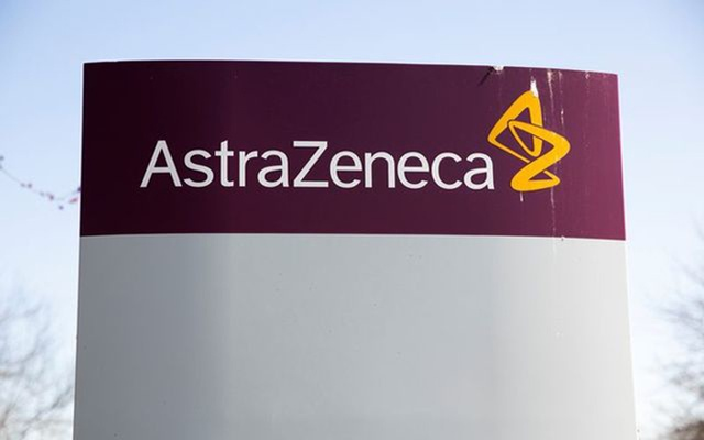 The logo for AstraZeneca is seen outside its North America headquarters in Wilmington, Delaware, US, March 22, 2021. REUTERS