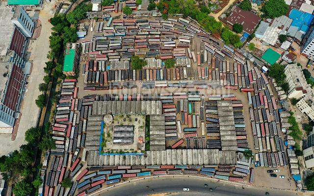 A bird's eye view of buses parked at Dhaka's Mohakhali terminal amid a shutdown of public transport services and a lockdown over the coronavirus outbreak on Friday, Apr 30, 2021. Photo: Mostafigur Rahman