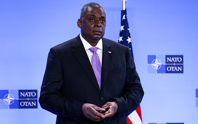 US Defense Secretary Lloyd Austin looks on as he arrives for a meeting of foreign ministers of the US, Britain, France and Germany on Afghanistan at NATO's headquarters in Brussels, Belgium, April 14, 2021. Kenzo Tribouillard/Pool via Reuters