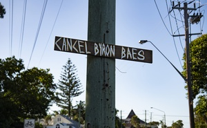 A sign of protest along a busy street in Byron Bay, Australia, April 25, 2021. The New York Times