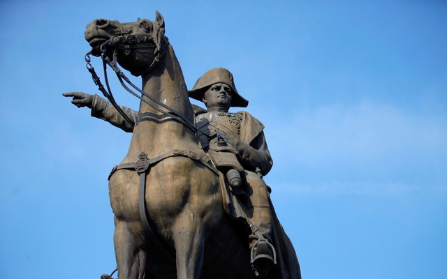 The statue of Napoleon I on a horse, by sculptor Charles-Pierre-Victor Pajol (1812-1896), built in 1867 in memory of the battle of Montereau, is seen in Montereau-Fault-Yonne, France, April 20, 2021. REUTERS