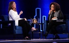 FILE PHOTO: Melinda Gates (L) speaks to Oprah Winfrey on stage during a taping of her TV show in the Manhattan borough of New York City, New York, US, February 5, 2019. REUTERS