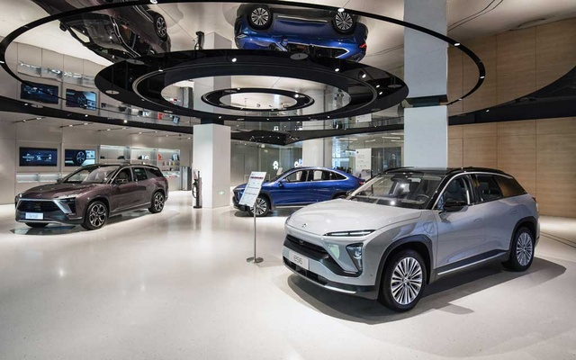 A Nio dealership in Shanghai, China, on Feb 3 2021. The electric car company is preparing to build a second large factory in central China. (Qilai Shen/The New York Times)