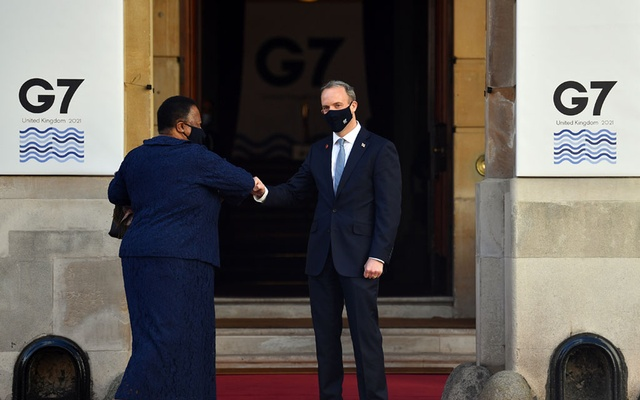 Britain's Foreign Secretary Dominic Raab welcomes South Africa's Minister of International Relations and Cooperation Naledi Pandor at the G7 foreign ministers meeting in London, Britain May 5, 2021. REUTERS