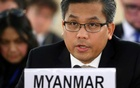 FILE PHOTO: Myanmar's United Nations ambassador Kyaw Moe Tun addresses the UN Human Rights Council in Geneva, Switzerland, March 11, 2019. REUTERS/Denis Balibouse/File Photo