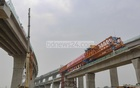 The final span of the Padma Bridge Rail Link Project was installed in Munshiganj's Mawa on Tuesday, Apr 4, 2021. Photo: Mahmud Zaman Ovi