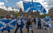 Demonstrators for Scottish Independence gather at George Square in Glasgow, Scotland on May 1, 2021. The New York Times