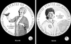 In an undated image provided by the US Mint, a rendering of coins celebrating the writer and poet Maya Angelou, left, and the astronaut Sally Ride will be issued next year as part of the US Mint's American Women Quarters Programme. US Mint via The New York Times