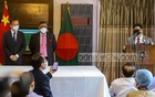 Foreign Minister AK Abdul Momen speaks at an event to mark the handover of the Chinese-made Sinopharm vaccine to Bangladesh at the state guesthouse Padma in Dhaka on Wednesday, May 12, 2021. Photo: Asif Mahmud Ove