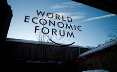 A logo of the 50th World Economic Forum (WEF) annual meeting is pictured on a window in Davos, Switzerland, January 21, 2020. Reuters