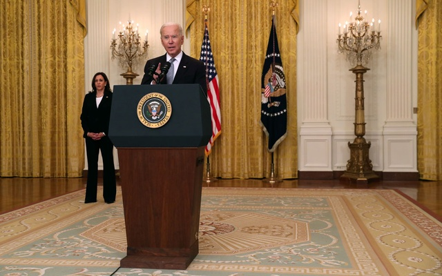 US President Joe Biden delivers remarks from the East Room of the White House in Washington, US May 17, 2021. REUTERS