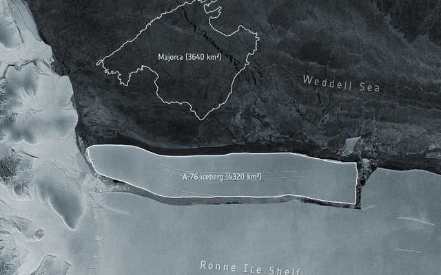 An undated provided satellite image shows an iceberg forming on the western side of Antarctica's Ronne Ice Shelf in the Weddell Sea. The outline of the Spanish island of Majorca is for reference. The New York Times