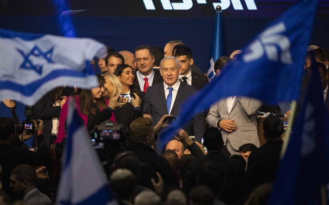 Israeli Prime Minister Benjamin Netanyahu at his election night event in Tel Aviv, Israel, in the early hours of March 3, 2020. Israeli Prime Minister Benjamin Netanyahu appears to be in a stronger position than before the latest violence that ended with a cease-fire with Hamas early Friday. (Dan Balilty/The New York Times)