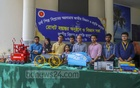 A group of young engineers display the robots they built for an exhibition at the National Museum of Science and Technology on Tuesday, May 25, 2021. Photo: Asif Mahmud Ove