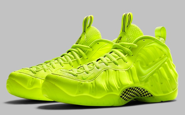 In an undated image provided via Nike, Nike's Foamposite Volt sneaker. In the age of the infinite scroll and the era of sneaker culture, where the competition to make the hottest, rarest, most wanted kick is more intense than ever, the shoe that clashes shades with the most force stops traffic — at least of the online kind. (via Nike via The New York Times)