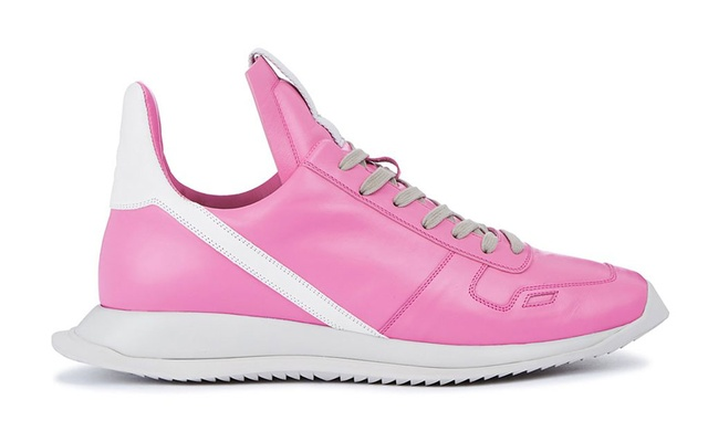 In an undated image provided via Rick Owens, Rick Owens' candy-coloured spring 2021 Phlegethon Phleg Runner. In the age of the infinite scroll and the era of sneaker culture, where the competition to make the hottest, rarest, most wanted kick is more intense than ever, the shoe that clashes shades with the most force stops traffic — at least of the online kind. (via Rick Owens via The New York Times)
