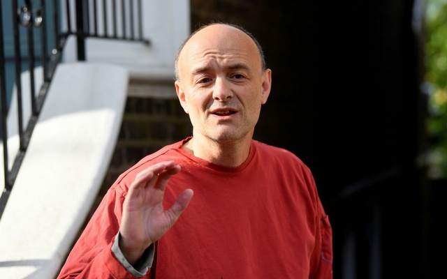Former special advisor to British Prime Minister Boris Johnson, Dominic Cummings, speaks to members of the media outside of his house, in London, Britain, May 4, 2021. REUTERS