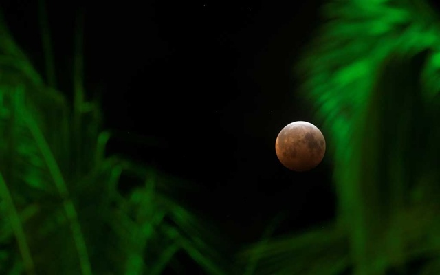A supermoon, the biggest and brightest full moon of the year, coincides with a total lunar eclipse making the Moon appear red over the skies of Honolulu, Hawaii, US May 26, 2021. REUTERS