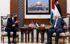 US Secretary of State Antony Blinken speaks with Palestinian President Mahmoud Abbas, in the West Bank city of Ramallah, May 25, 2021. REUTERS