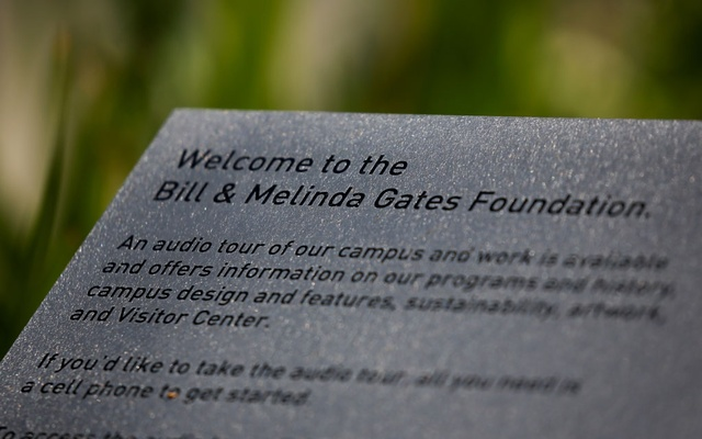 A welcome plaque is pictured outside the Bill & Melinda Gates Foundation in Seattle, Washington, US May 5, 2021. REUTERS