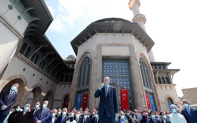 Turkish President Tayyip Erdogan speaks during the inauguration of Taksim Mosque in central Istanbul, Turkey May 28, 2021. REUTERS