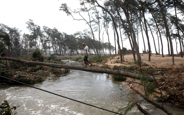 A man crosses a canal on a fallen tree following Cyclone Yaas in Digha, Purba Medinipur district in the eastern state of West Bengal, India, May 27, 2021. REUTERS