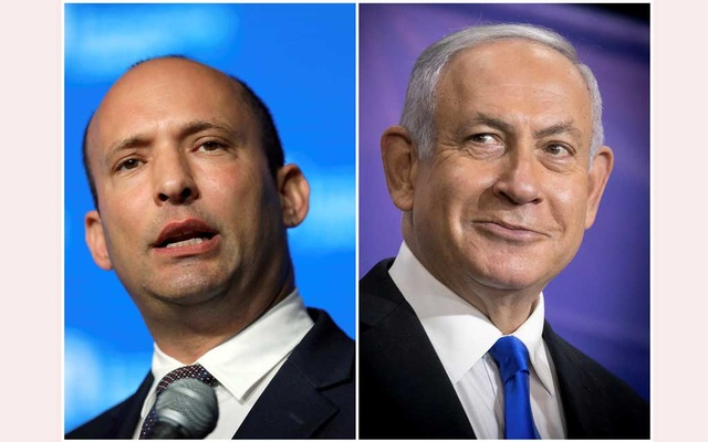 A combination of file photos show Israeli Prime Minister Benjamin Netanyahu at a news conference in Tel Aviv, Israel, March 8, 2021 and Israeli Education Minister Naftali Bennett during a reception in Jerusalem May 14, 2018. Reuters