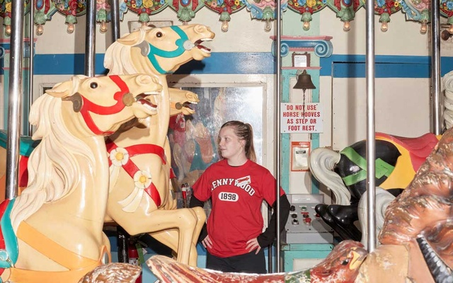 Hayley Bailley, 17, from Irwin, Pa, works at Kennywood amusement park in West Mifflin, Pa, May 29, 2021. The New York Times