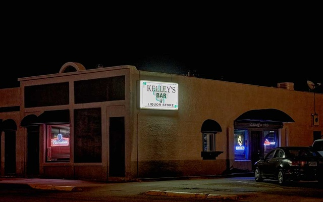 Kelley's Bar, one of the targets of former police chief Terri VanDam's drug trafficking investigations, in Guernsey, Wyo., April 21, 2021. VanDam and her sergeant contend in their federal lawsuits that they were fired because they tried to confront an insular, small-town network of powerful ranchers, business owners and politicians. (Stephen Speranza/The New York Times)
