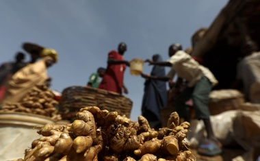 Freshly washed ginger plant bulbs are seen at a market in Kaduna, Nigeria. April 30, 2021. Picture taken April 30, 2021. REUTERS/Afolabi Sotunde