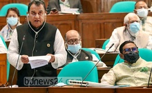 Finance Minister AHM Mustafa Kamal delivers the budget speech for the 2021-22 fiscal year in parliament on Thursday, Jun 3, 2021. Photo: PMO