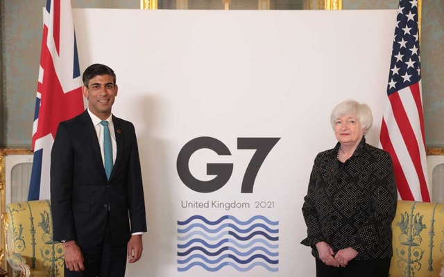 Britain's Chancellor of the Exchequer Rishi Sunak meets with US Treasury Secretary Janet Yellen, in London, Britain June 3, 2021. REUTERS