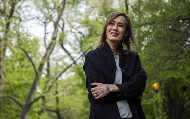 Gina Chua, executive editor at Reuters, stands for a portrait in New York on April 28, 2021. Chua, 60, transitioned genders during 2020, using the time at home and away from the office to, as she describes it,