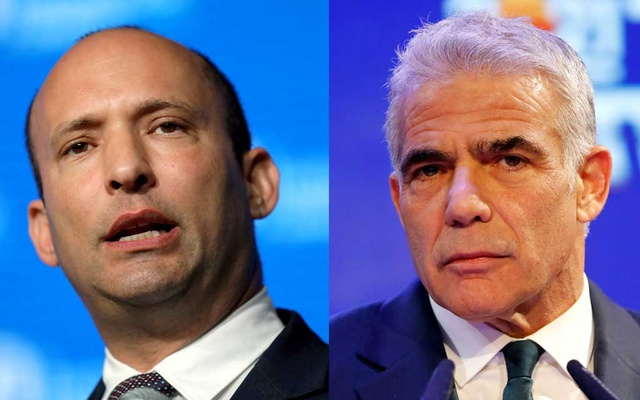 A combination of file photos shows Israeli Education Minister Naftali Bennett speaking in Jerusalem May 14, 2018 and Yesh Atid party leader Yair Lapid delivering a speech in Tel Aviv, Israel March 24, 2021. REUTERS