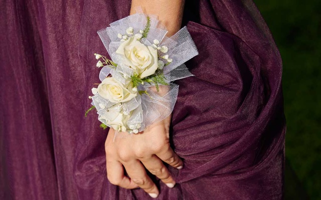 A wrist corsage at the courthouse, where Dos Pueblos High School students gathered for photos before prom in Santa Barbara, Calif, May 29, 2021. The New York Times