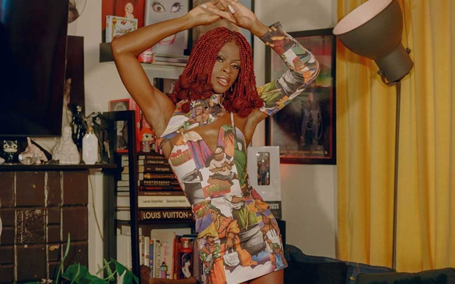 """Symone at The House of Avalon, a queer fashion and pop culture collective, in Los Angeles on May 11, 2021. """"I had to learn to love my Blackness,"""" said the winner of this season's 'RuPaul's Drag Race.' """"I've learned to love my queerness. I had to learn to love myself."""" Natalia Mantini/The New York Times"""
