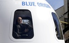 Amazon and Blue Origin founder Jeff Bezos addresses the media about the New Shepard rocket booster and Crew Capsule mockup at the 33rd Space Symposium in Colorado Springs, Colorado, United States April 5, 2017. REUTERS