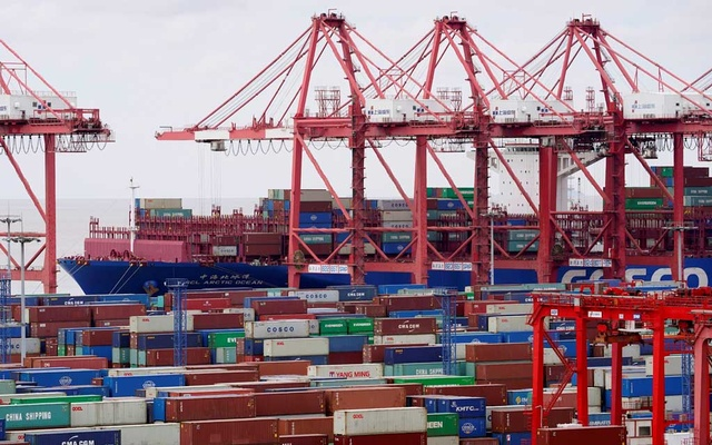 Containers are seen at the Yangshan Deep Water Port in Shanghai, China, as the coronavirus disease (COVID-19) outbreak continues, October 19, 2020. REUTERS