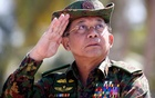 Myanmar military commander-in-chief, Senior General Min Aung Hlaing, salutes while attending a military exercise at Ayeyarwaddy delta region in Myanmar, Feb 3, 2018. REUTERS